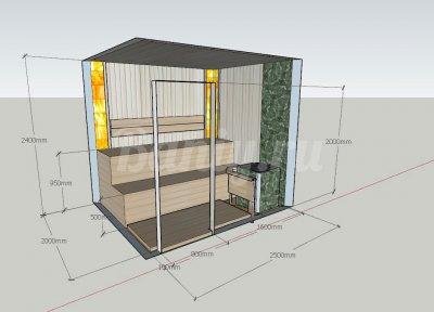 Проект сауны С-5 для частного дома или квартиры