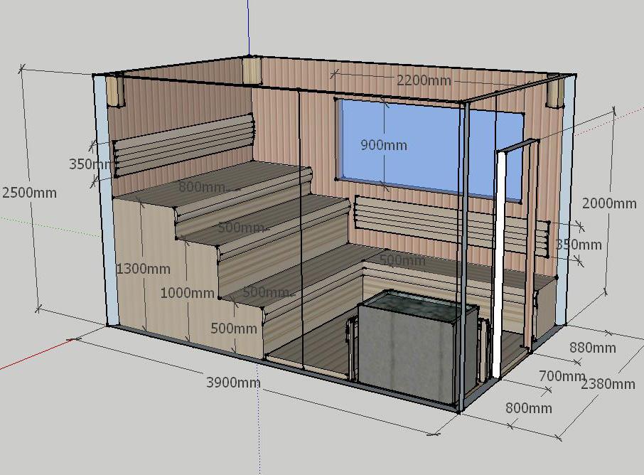Проект сауны С-1 для частного дома или квартиры, фото 1