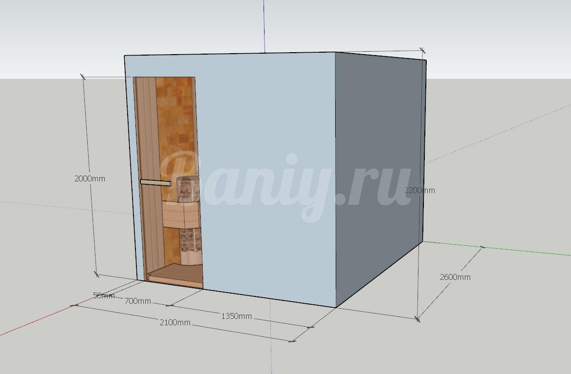 Проект сауны С-6 для частного дома или квартиры, фото 1