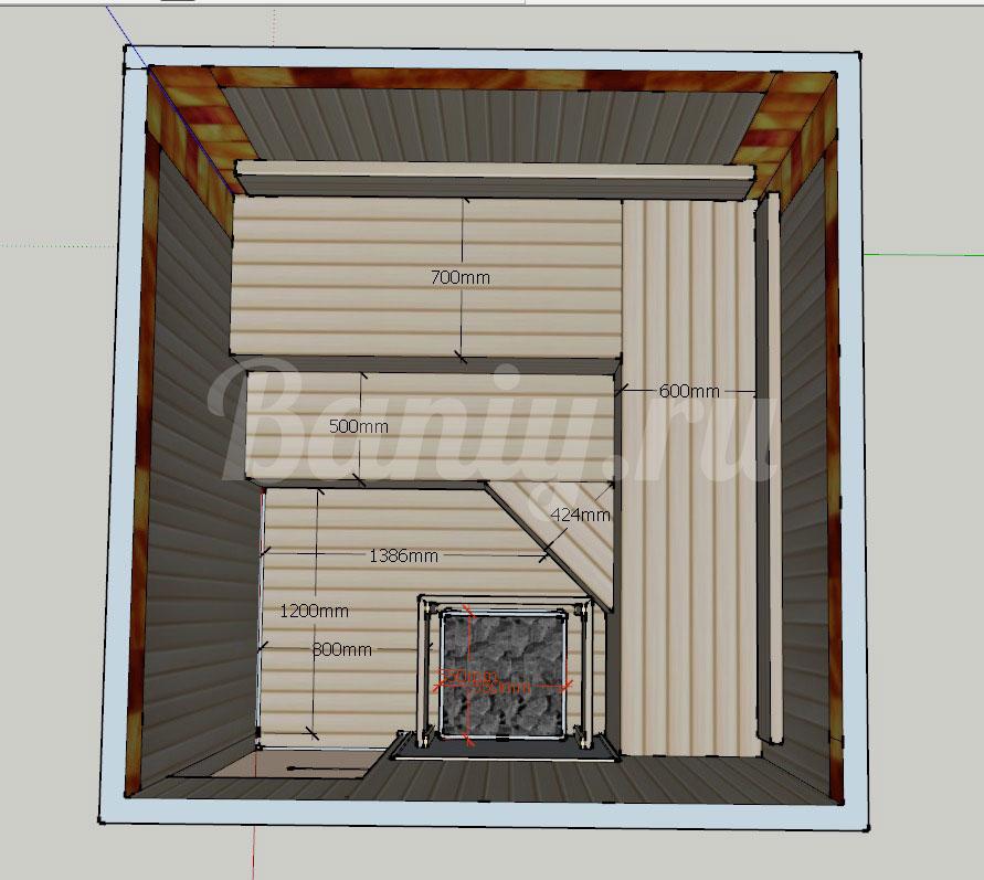 Проект сауны С-7 для частного дома или квартиры, фото 1