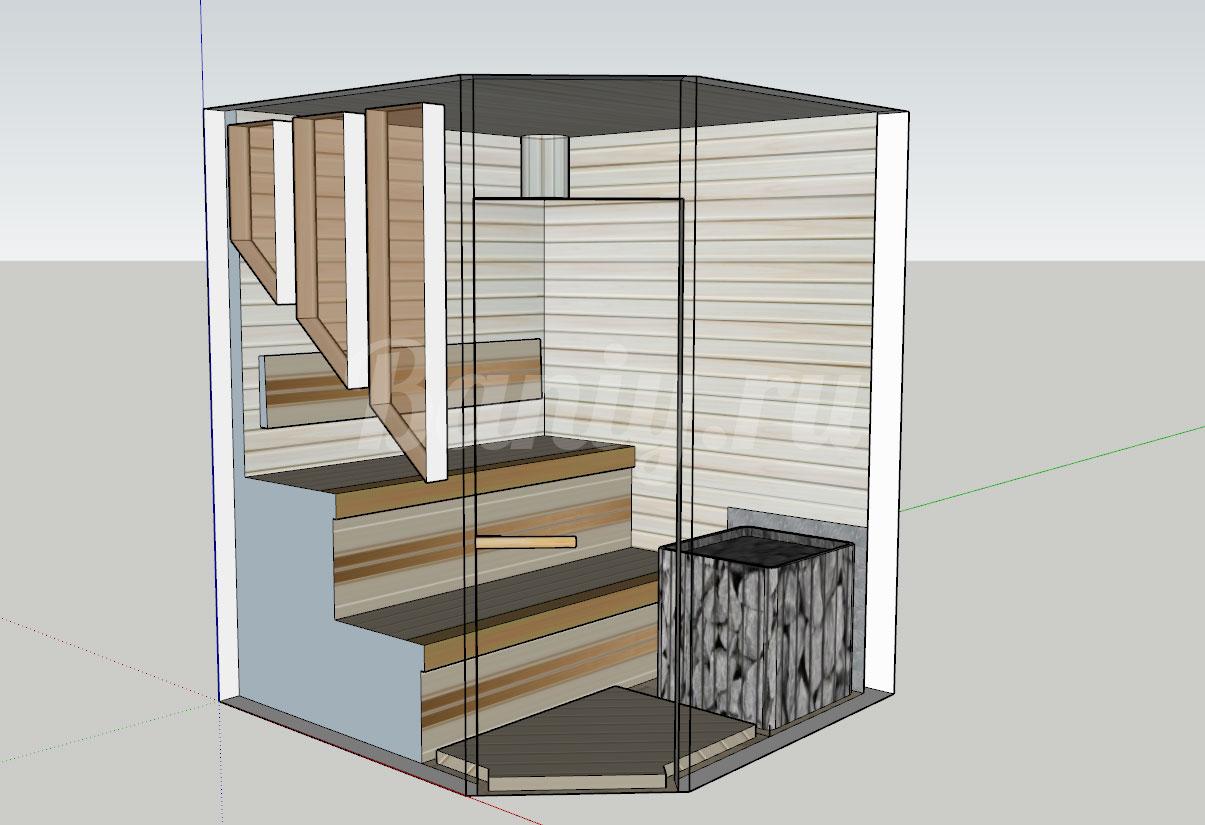 Проект сауны С-8 для частного дома или квартиры, фото 1