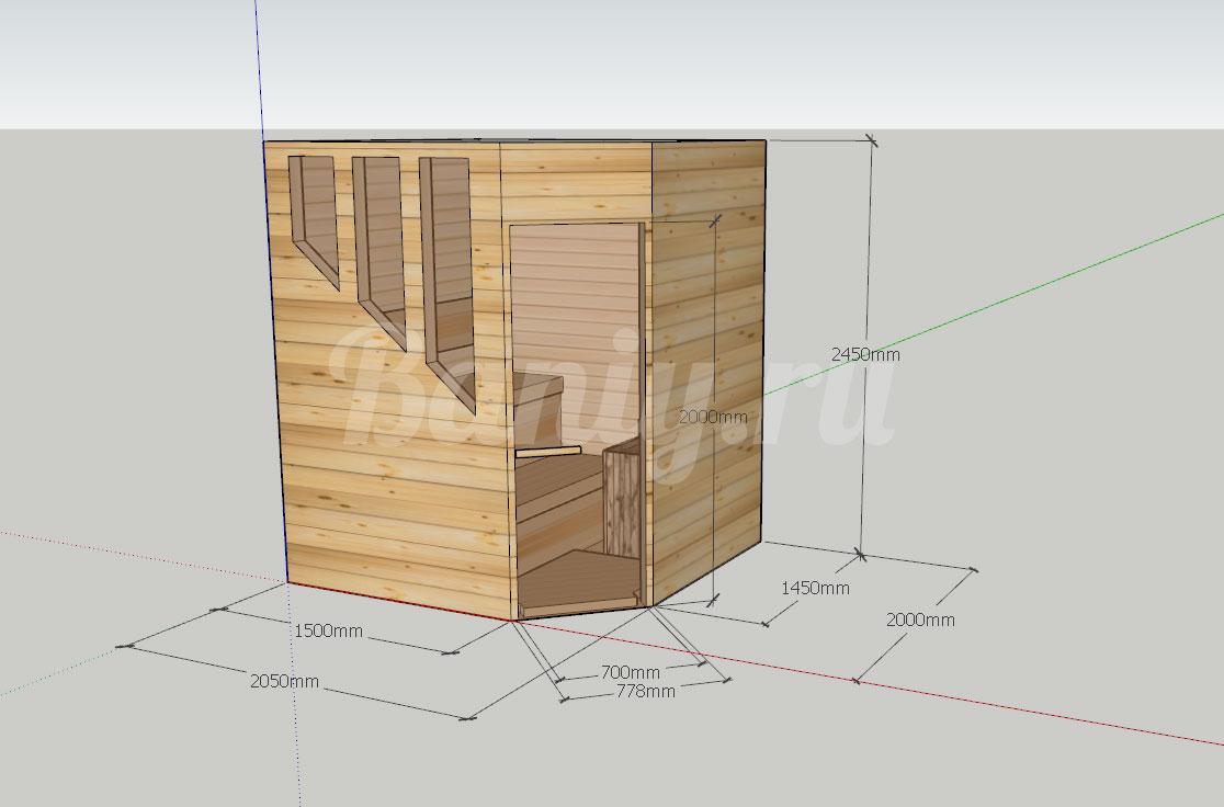 Проект сауны С-8 для частного дома или квартиры, фото 2