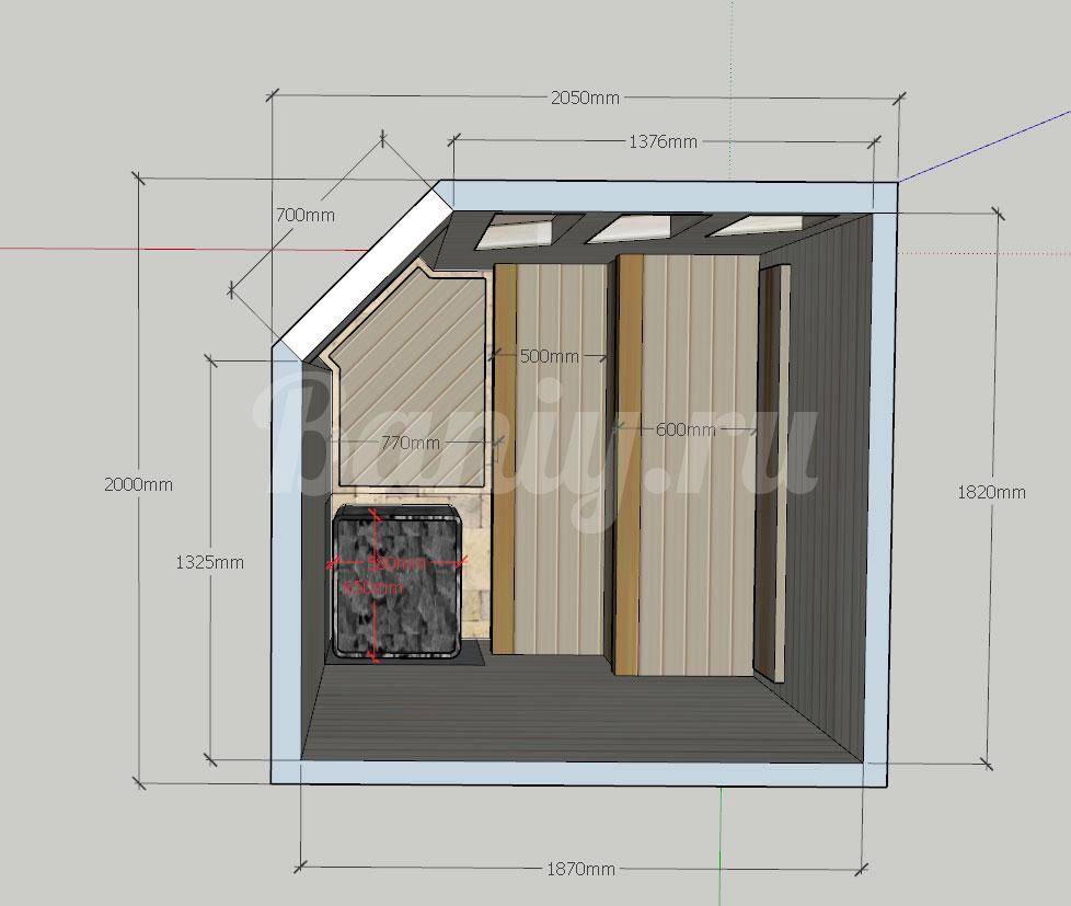 Проект сауны С-8 для частного дома или квартиры, фото 3