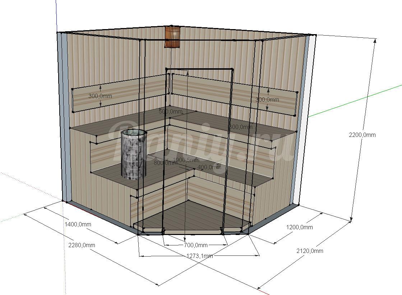 Проект угловой сауны С-4 для частного дома или квартиры, фото 1
