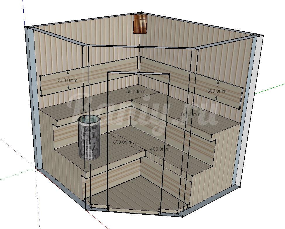 Проект угловой сауны С-4 для частного дома или квартиры, фото 2