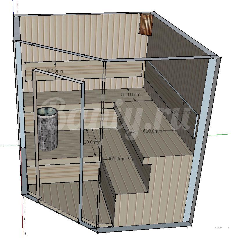 Проект угловой сауны С-4 для частного дома или квартиры, фото 3