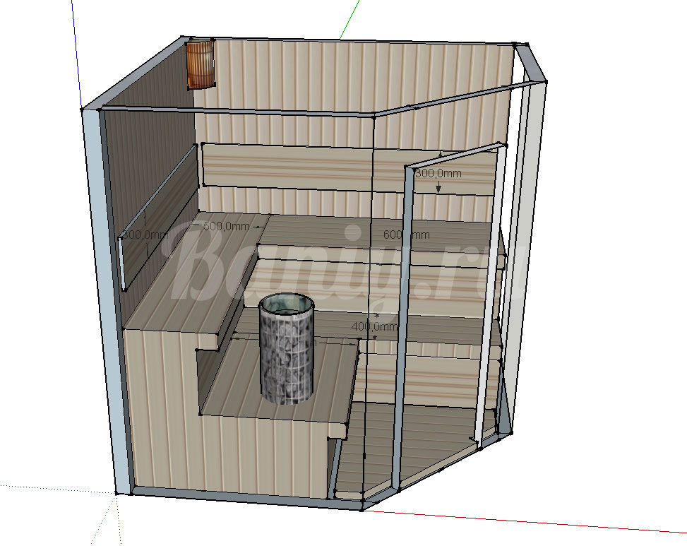 Проект угловой сауны С-4 для частного дома или квартиры, фото 4