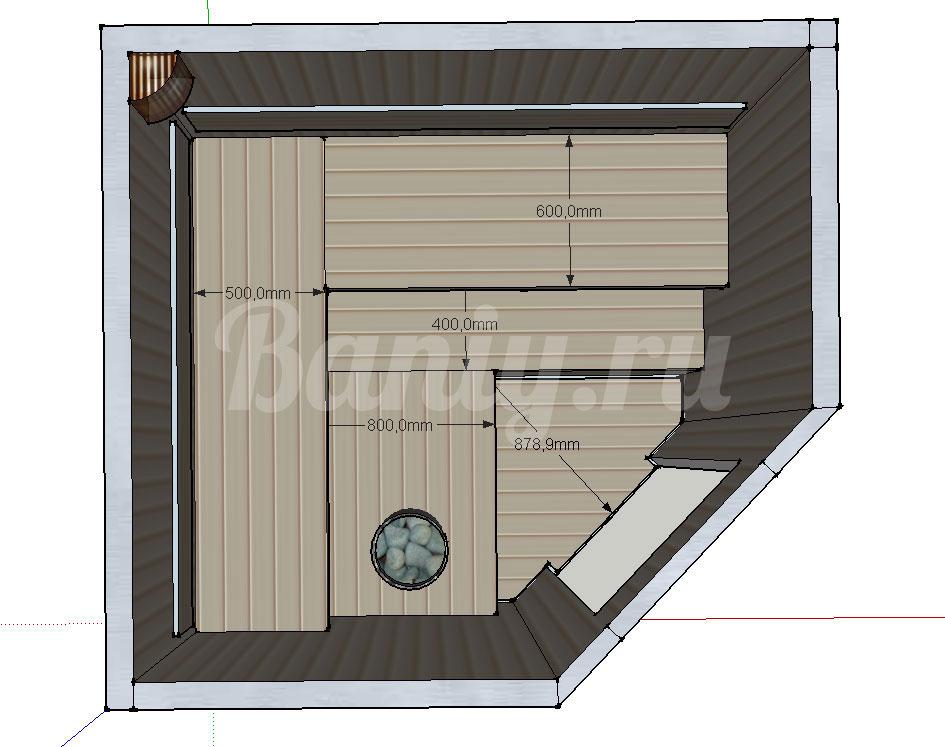 Проект угловой сауны С-4 для частного дома или квартиры, фото 5